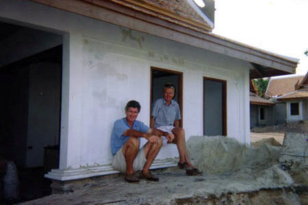 David and John pose for a photo during construction of Poppies Samui