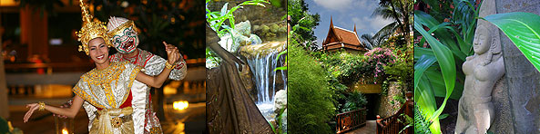 A number of images which are, Thai dancers, a mini waterfall, a cottage in the distance and a stone statue in the garden